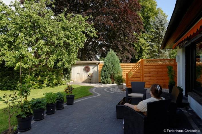 Terrasse zum entspannen im Ferienhaus Christelhoi