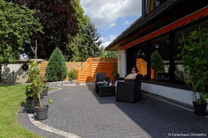 Die große Terrasse im Ferienhaus Christelhoi