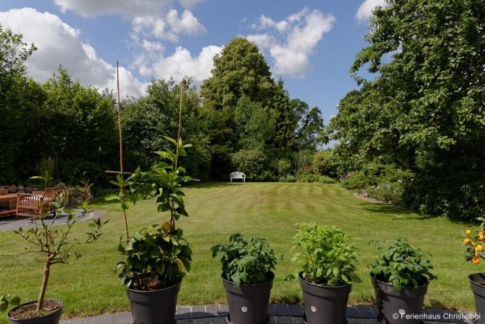 Der weitläufige Garten im Ferienhaus mit altem Baumbestand