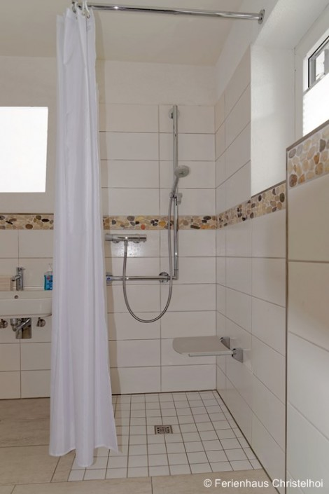 Wheelchair accessible bathroom on the ground floor with walk-in shower
