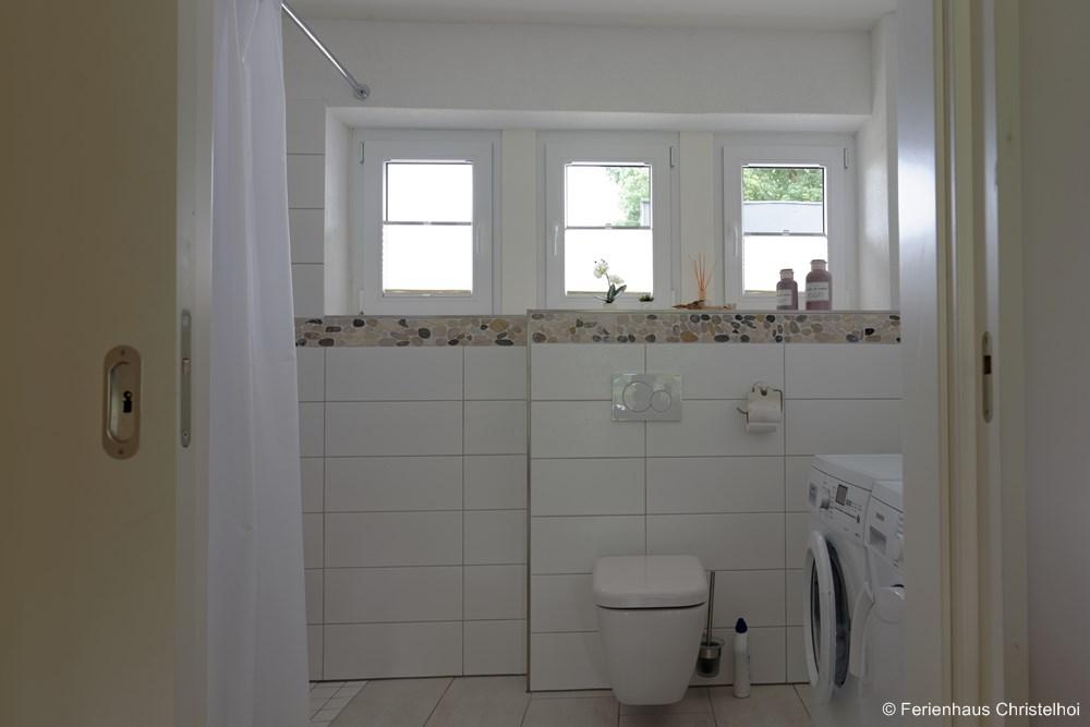 Wheelchair accessible bathroom on the ground floor - access through wide sliding door
